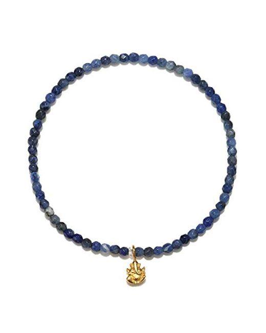 Satya Jewelry - Sodalite Gold Ganesha Stretch Bracelet, Blue, One Size - Lyst