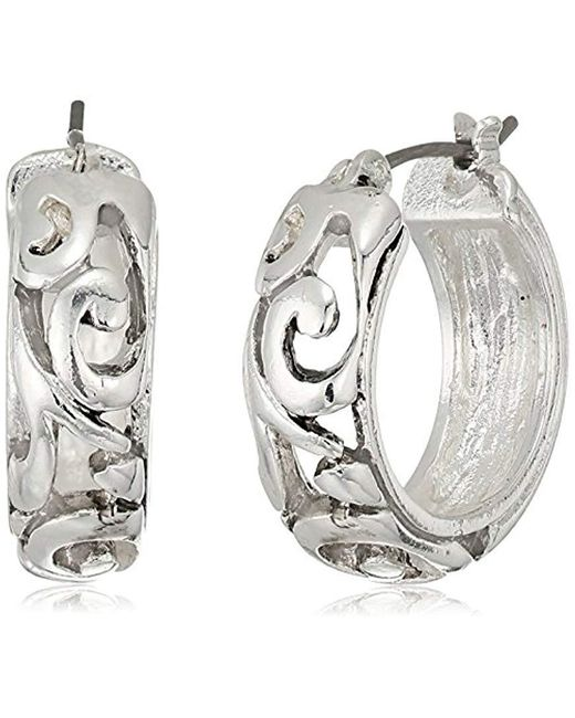 Napier - Metallic Silver-tone With Antique Small Hoop Earrings - Lyst