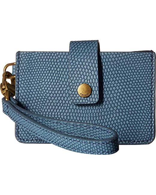 Fossil - Blue Mini Tab Wallet - Lyst