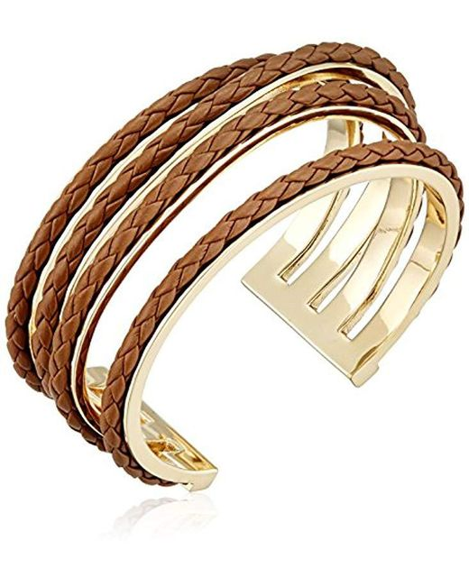 Cole Haan - Metallic Leather Items Inlay Wavy Cuff Bracelet - Lyst
