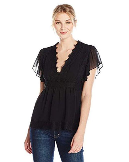 Lark & Ro - Black Lace Flutter Sleeve Blouse - Lyst