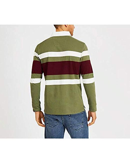 a817e3d5 ... Nautica - Green Striped Heavy Weight Jersey Long Sleeve Polo Shirt for  Men - Lyst ...