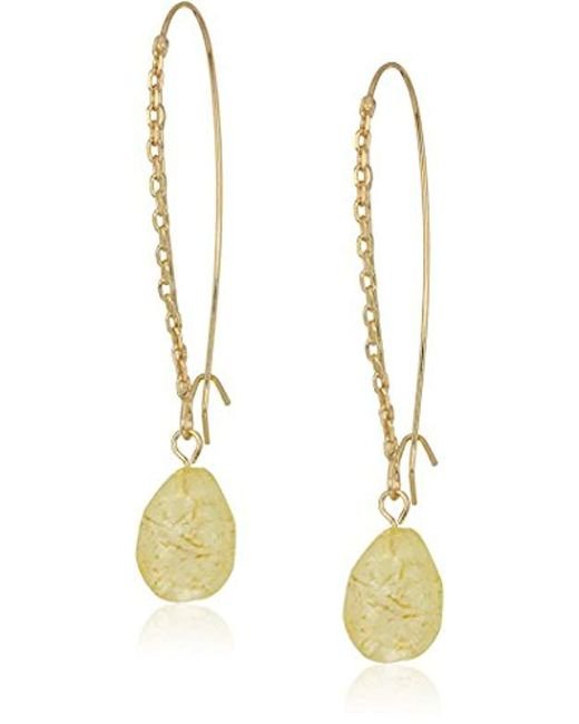 Kenneth Cole - Metallic Gold Tone Chain Shaped Hook Drop Earrings, Citrine, One Size - Lyst