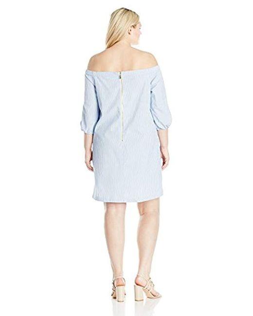 Lyst Eliza J Plus Size Off Shoulder Seersucker Dress In Blue