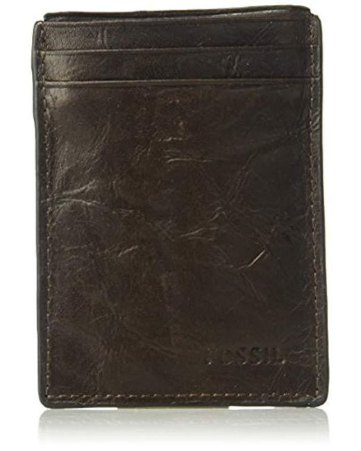 Fossil - Brown Magnetic Card Case Wallet for Men - Lyst