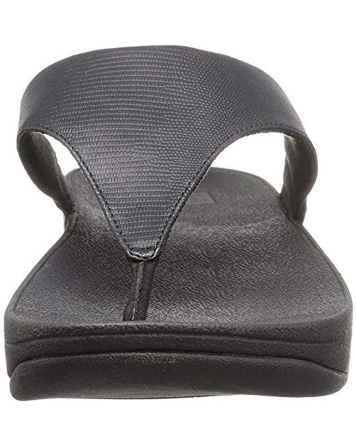bbb8add53 ... Fitflop - Black Lulu Lizard-print Flip Flops Sandal - Lyst ...