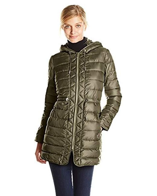 Kenneth Cole - Multicolor Packable Puffer Coat With Cinch Waist - Lyst