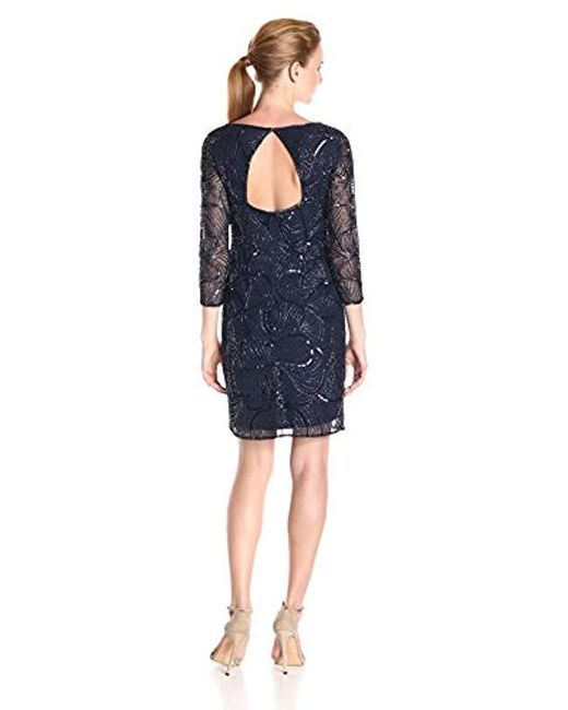 Lyst Adrianna Papell 34 Sleeve Fully Beaded Cocktail Dress With