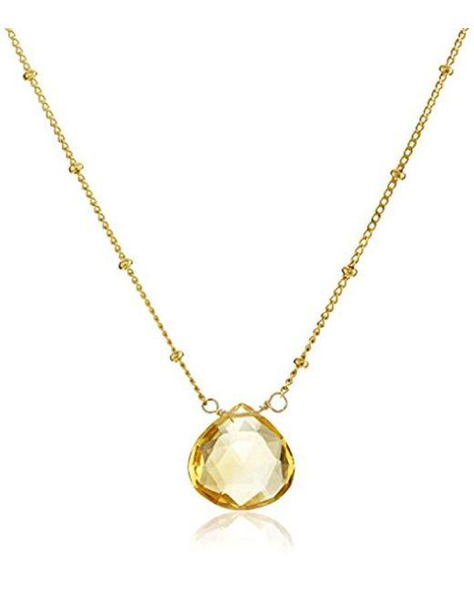 "Satya Jewelry - Yellow Drop Pendant Necklace, 18"" - Lyst"