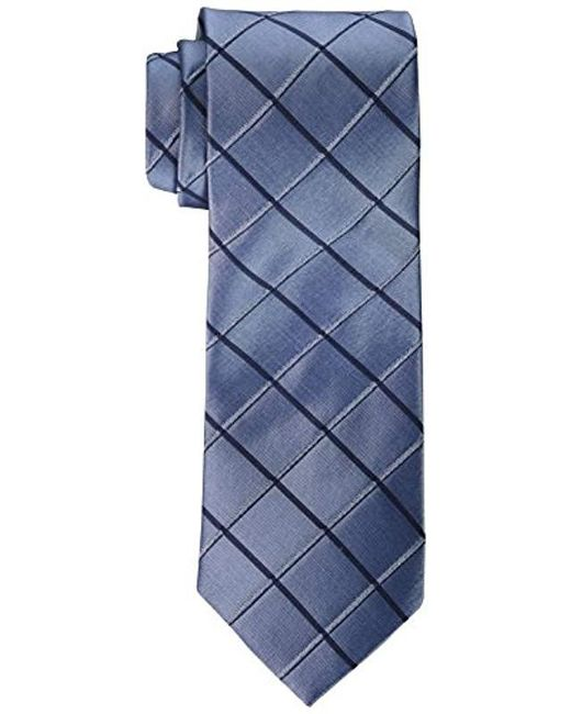 Calvin Klein - Blue Waffle Windowpane Tie for Men - Lyst