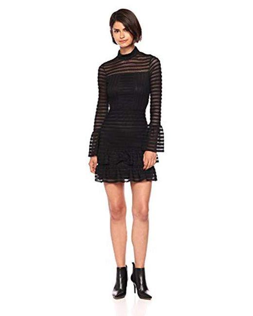 Parker - Black Topanga High Neck Long Sleeve Fitted Short Dress - Lyst