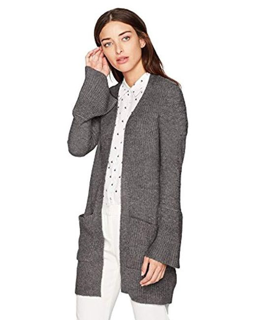 Kensie - Gray Warm Touch Open Cardigan With Bell Sleeve - Lyst