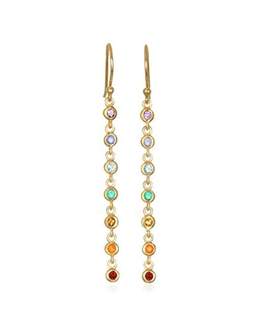 Satya Jewelry Metallic Multi Gemstone Gold Chakra Long Earrings One Size Lyst