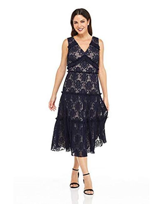 Maggy London Blue Petite Pleat Lace Tiered Cocktail Dress