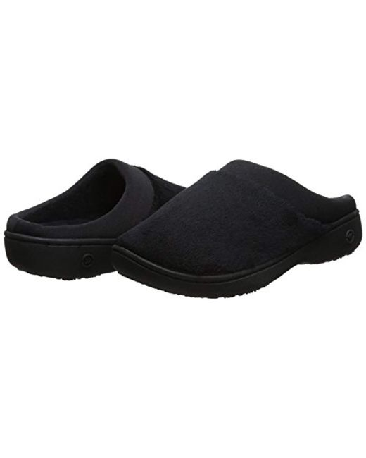 ed33f3cba3bb ... Isotoner - Black Terry And Satin Slip On Cushioned Slipper With Memory  Foam For Indoor  ...