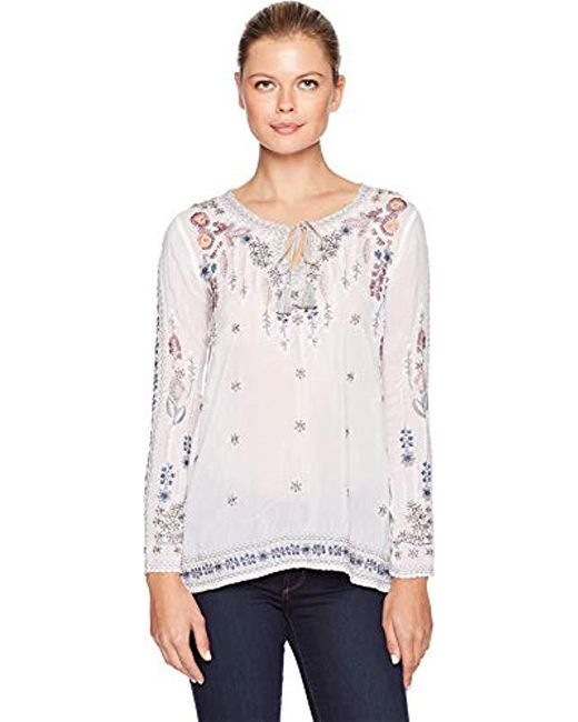 Johnny Was - White Embroidered Tie Neck Blouse - Lyst