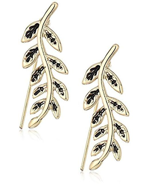 RACHEL Rachel Roy - Metallic S Leaf Crawler Earrings, Gold, One Size - Lyst
