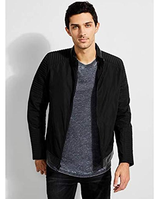 8778c5ce95 Guess Philip Moto Jacket in Black for Men - Save 8% - Lyst