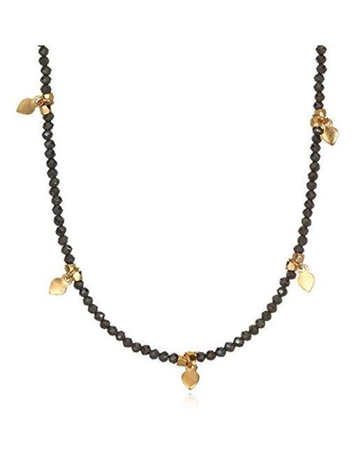 "Satya Jewelry - Black Pyrite Gold Plate Lotus Petal Choker Necklace, 14""+2"" Extender - Lyst"