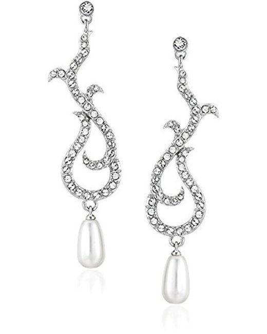Nina - Metallic Dovie Romantic Swarovski Swirl With Pearl Drop Earrings - Lyst