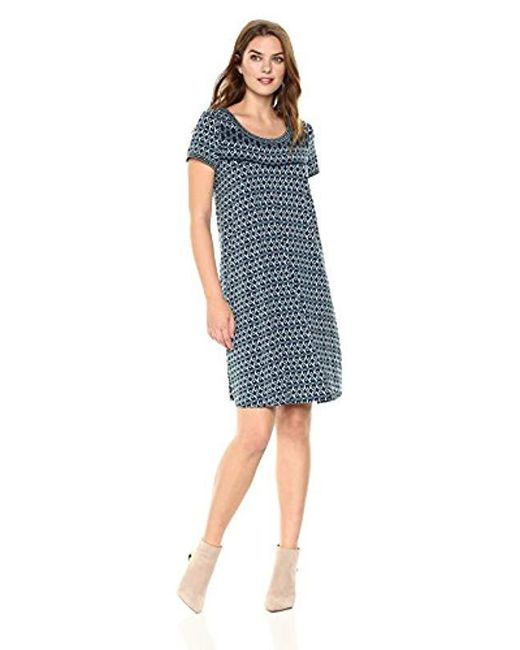 Lark & Ro - Blue Short Sleeve Scoop Neck T-shirt Dress - Lyst