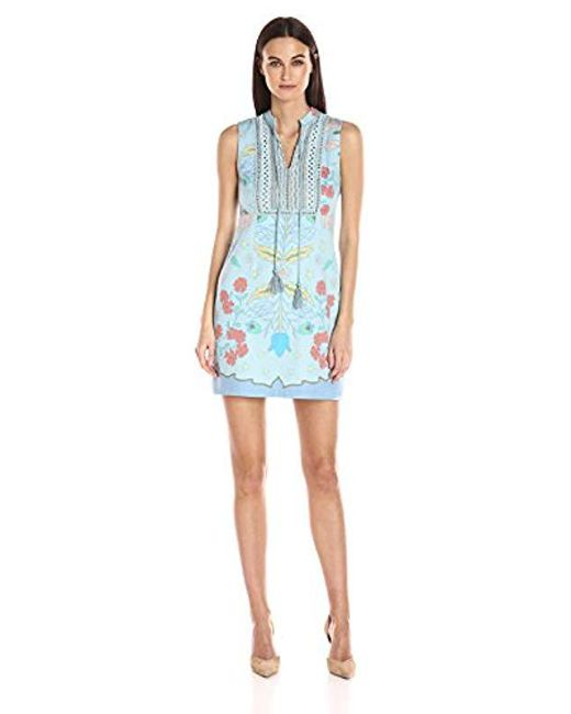 Plenty by Tracy Reese - Blue Lace Inset Shift Dress - Lyst