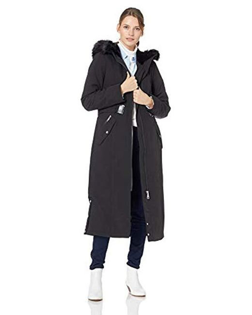 Calvin Klein - Black Maxi Length Soft Shell With Faux Fur Trimmed Hood And Removable Belt - Lyst
