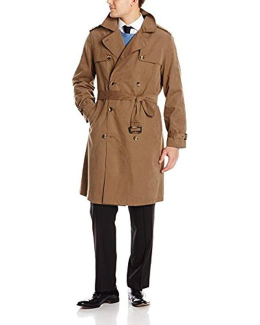 London Fog - Natural Plymouth Twill Belted Double-breasted Iconic Trench Coat for Men - Lyst