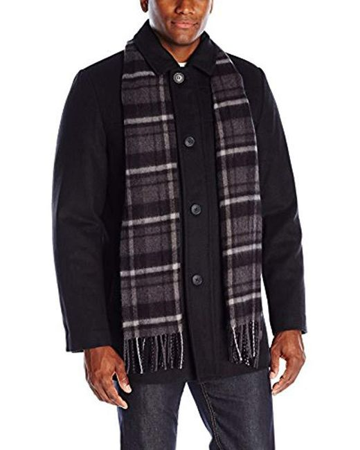 Dockers - Black Weston Wool Blend Car Coat With Scarf for Men - Lyst