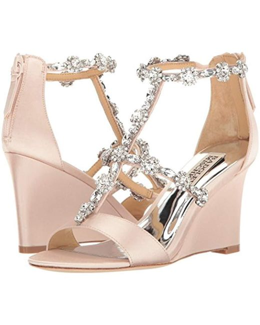 d2a2ffd2133 Lyst - Badgley Mischka Tabby Wedge Sandal in Pink - Save ...