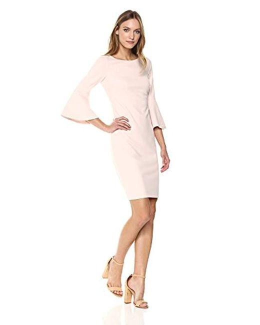 Calvin Klein - Pink Petite 3/4 Peplum Sleeve Sheath Dress - Lyst
