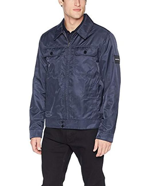 Calvin Klein - Blue Harrington Jacket With Chest Pockets for Men - Lyst