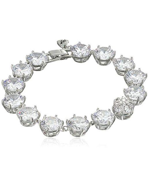 "Betsey Johnson - Metallic ""betsey Blue Cubic Zirconia Stone Tennis Bracelet - Lyst"