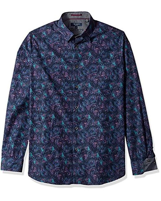 Ted Baker - Blue Karaf Modern Slim Fit Ls Palm Printed Shirt for Men - Lyst