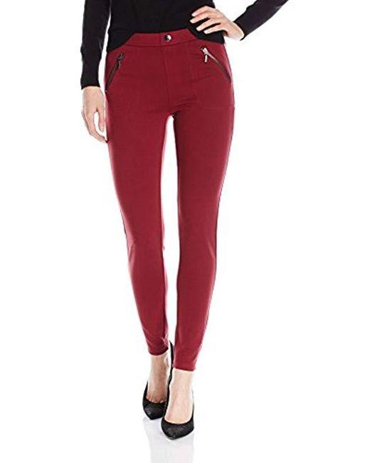 Kensie - Red Jeans Ponte Dual Front Zipper Pant - Lyst