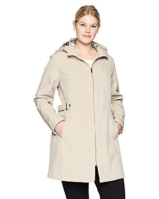 Via Spiga - Natural Plus Size Zip Front Hooded Walker Coat With Leopard Fleece Lining - Lyst