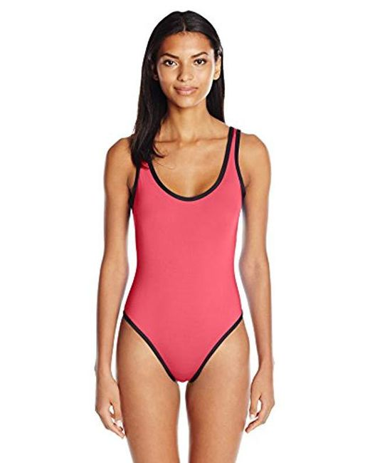 bb9bef191b2ce Kenneth Cole Reaction - Pink On The Edge High-leg One Piece Swimsuit - Lyst  ...