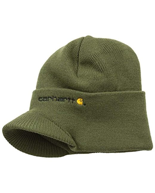5888527da8f Lyst - Carhartt Knit Hat With Visor in Green for Men - Save ...