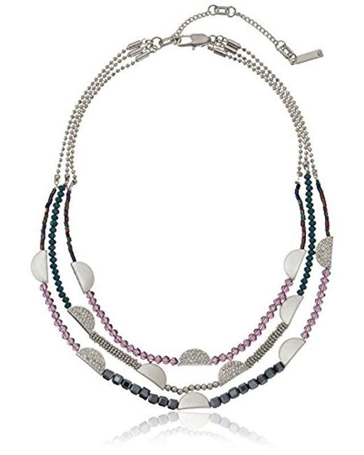 """Kenneth Cole - Multicolor Stone Central Pave Mixed Faceted Bead Multi Row Necklace, 16"""" + 3"""" Extender - Lyst"""