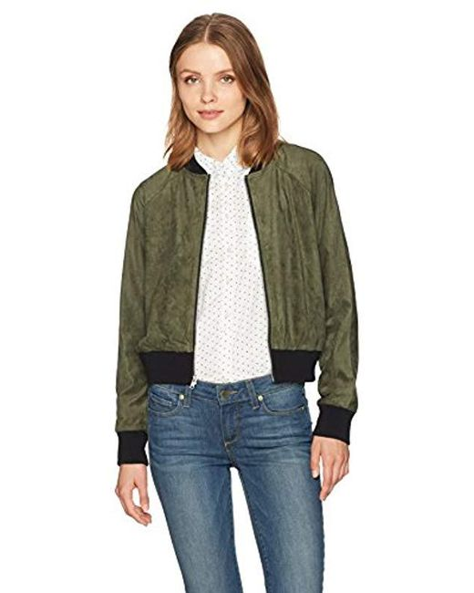 BB Dakota - Green Ellie Faux Suede Bomber Jacket - Lyst