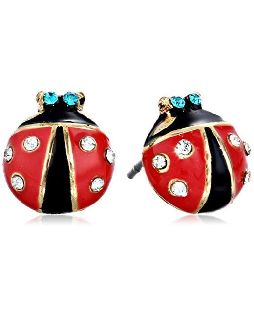 Betsey Johnson - Red S Ladybug Studs - Lyst