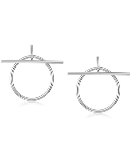 Rebecca Minkoff - Metallic Front Facing Ring And Bar Silver Hoop Earrings - Lyst