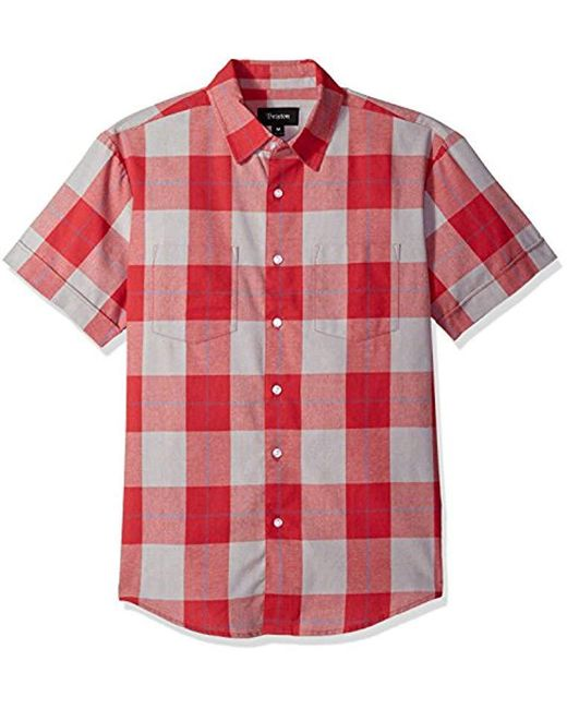 Brixton - Red Branson Relaxed Fit Short Sleeve Woven Shirt for Men - Lyst