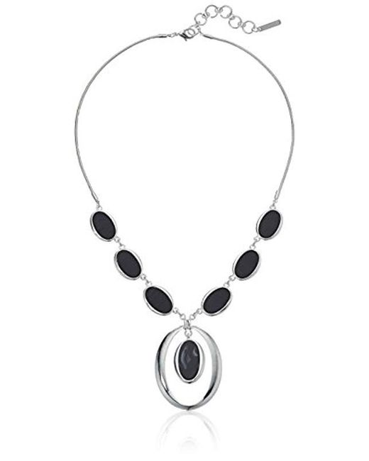 """Nine West - Metallic Silver-tone And Jet 16"""" Y Shaped Necklace, Size 0 - Lyst"""