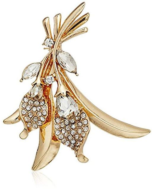 Napier - Metallic Gold-tone And Crystal Flower Brooch Pin - Lyst