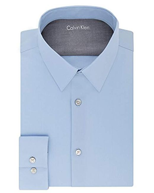 28b517a65cf Calvin Klein - Blue S Dress Shirts Xtreme Slim Fit Solid Thermal Stretch  Point Collar for
