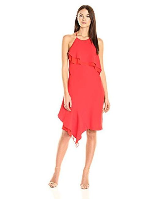 87a5d6f519 Laundry by Shelli Segal - Red Cocktail Ruffle Dress - Lyst ...