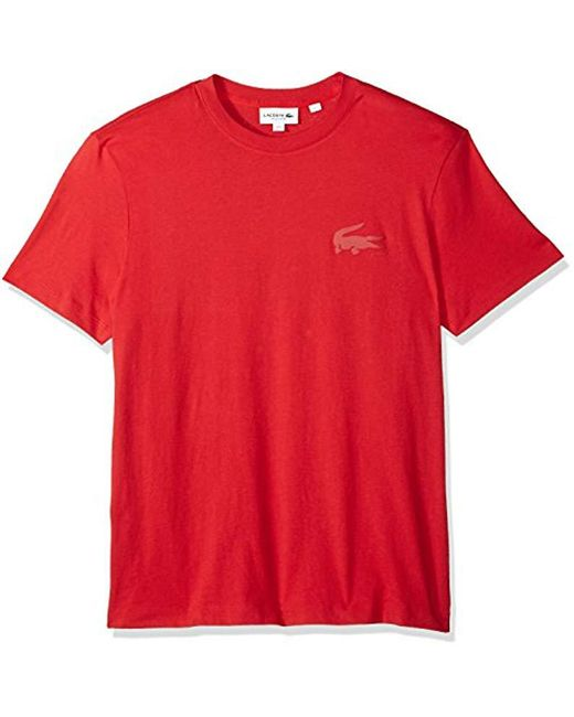 Lacoste - Red Short Sleeve Graphics Jersey Bonded Croc Reg Fit T-shirt, Th3241 for Men - Lyst