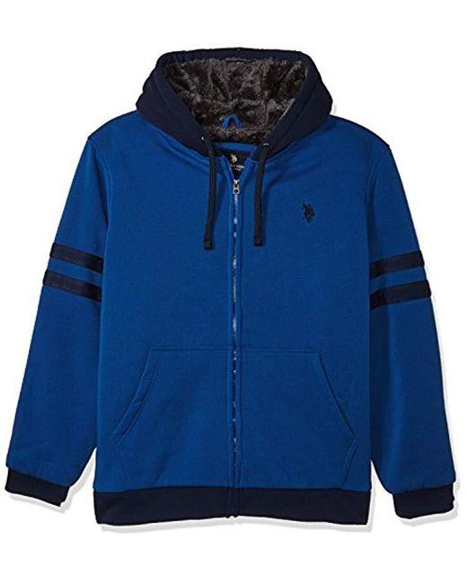 U.S. POLO ASSN. - Blue Standard Fashion Sherpa Lined Fleece Hoodie for Men - Lyst