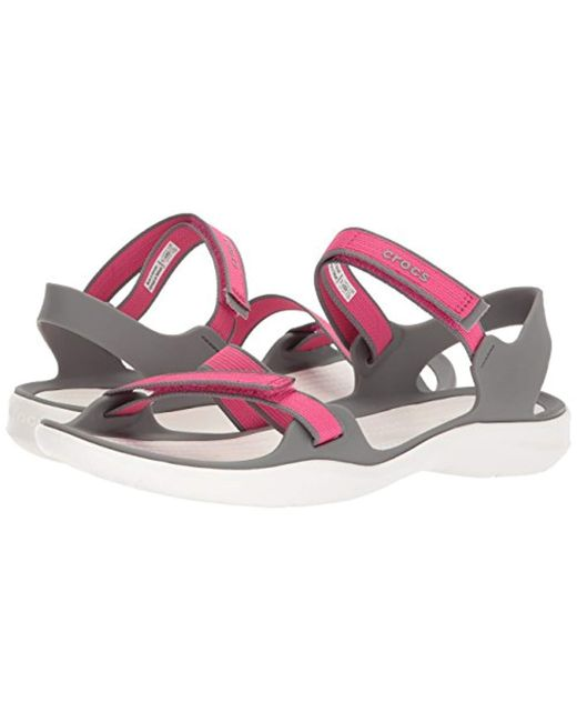 7a15bb57a0ef Lyst - Crocs™ Swiftwater Webbing Sandal W Open Toe in Pink - Save 23%